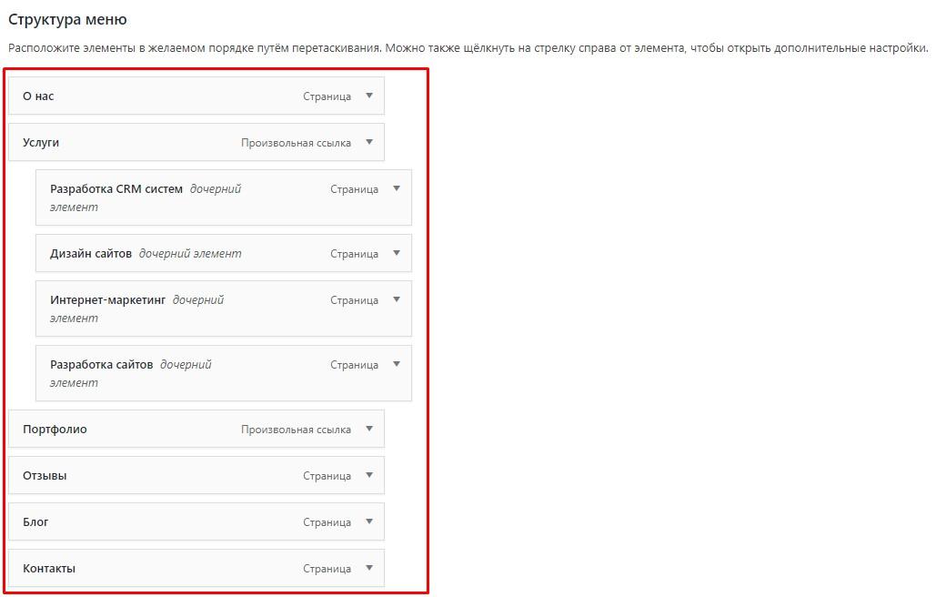 Вывод меню в админ панель wordpress