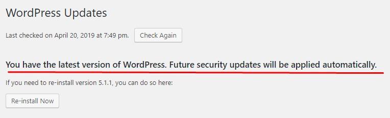 отключение wordpress updates